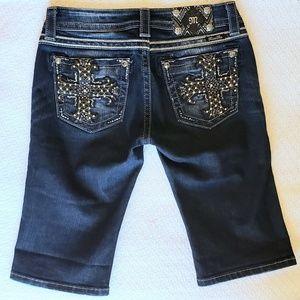 Miss Me   Signature Bermuda Shorts w/ Cross Detail